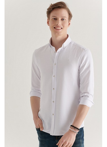 Avva Erkek  Düz Düğmeli Gömlek A11Y2125 Beyaz